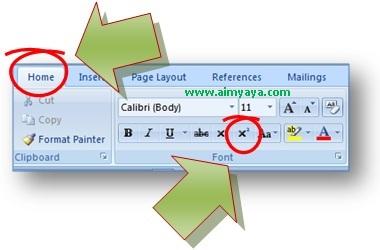 gambar toolbar untuk superscript