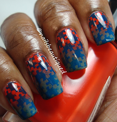 Gradient Puzzle Nailart Design