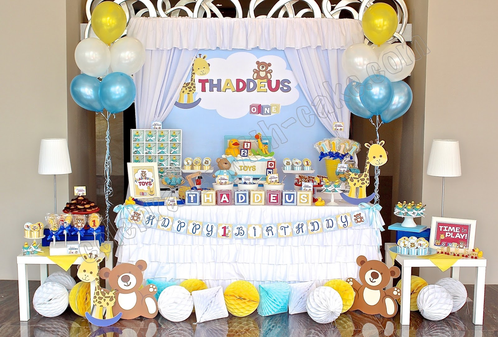 Celebrate with cake toy box themed dessert table for 1st for Table design for 1st birthday