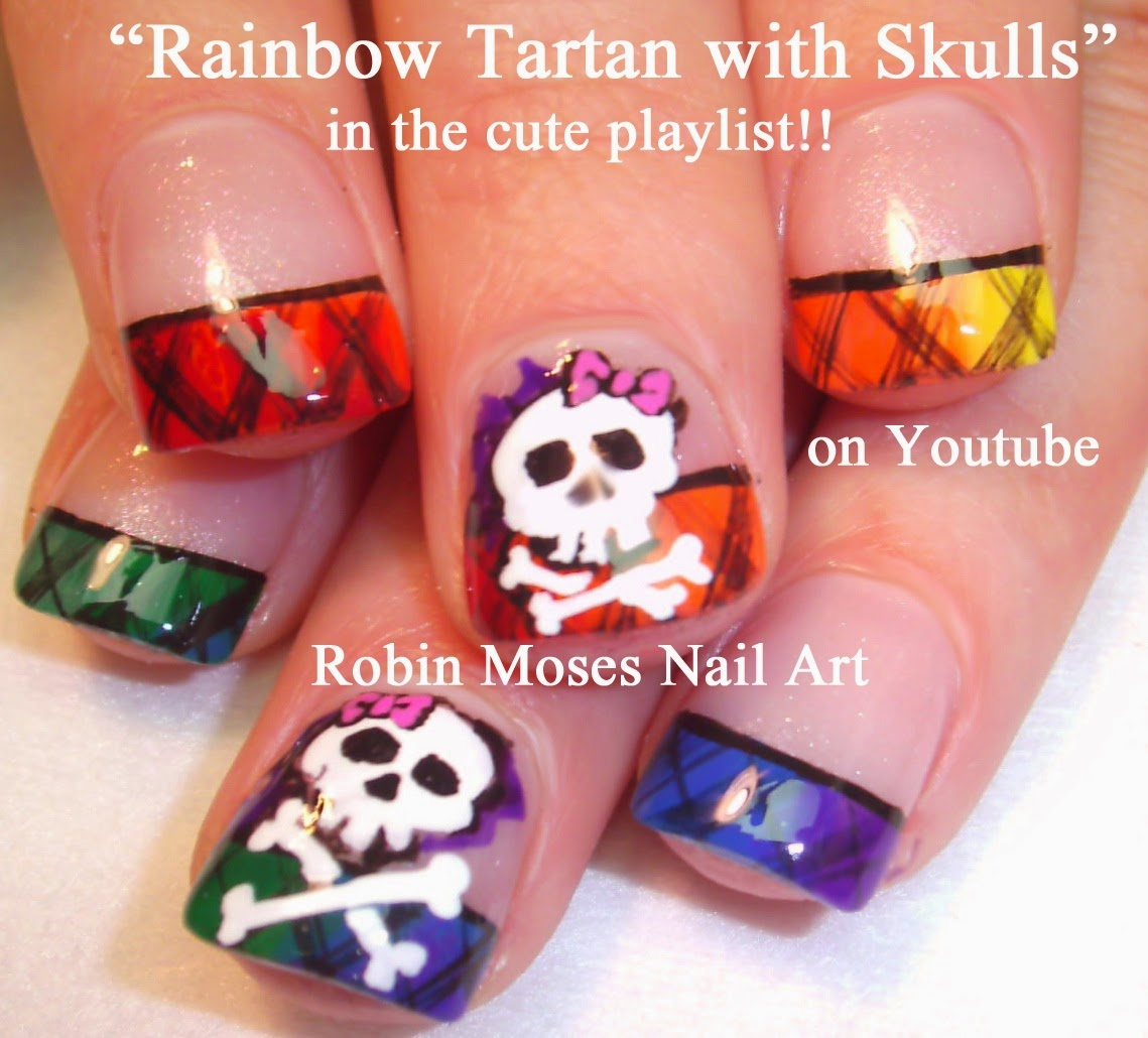 Nail Art By Robin Moses Skull Nails Skull Nail Art Rainbow