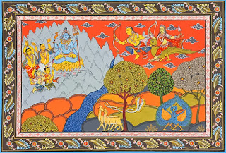 Kama, god of desire, with his consort, Rati, mistress of erotica, perched on a tree ready to shoot love-darts at Shiva Mewar school miniature.