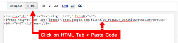 Paste The Code Inside HTML editor of new Post