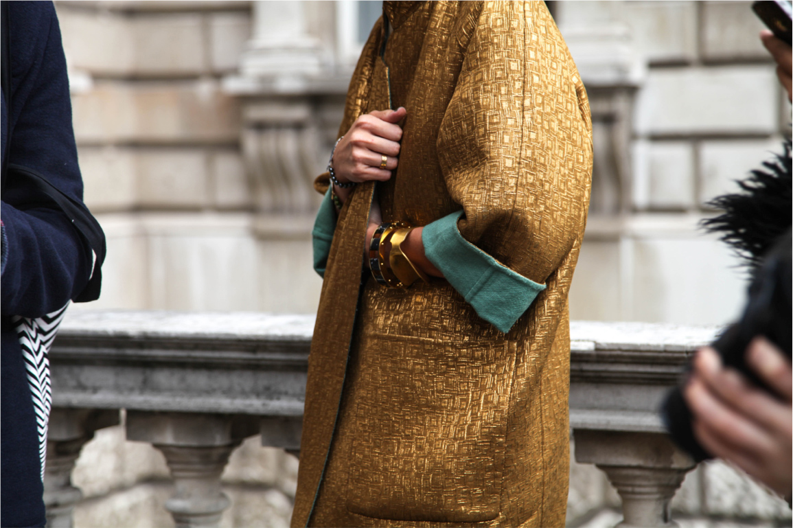 London Fashion Week street style gold embriodery long boat and jewellery bracelet