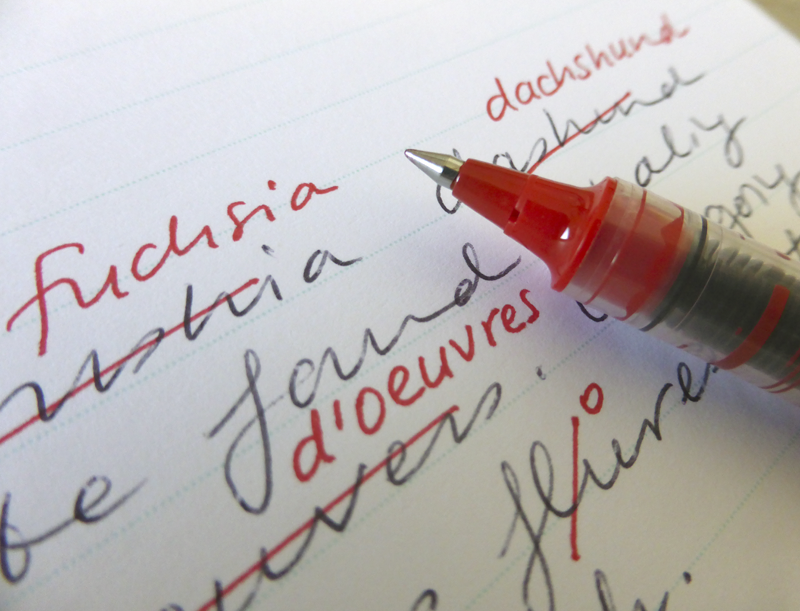 handwriting corrected with red ink