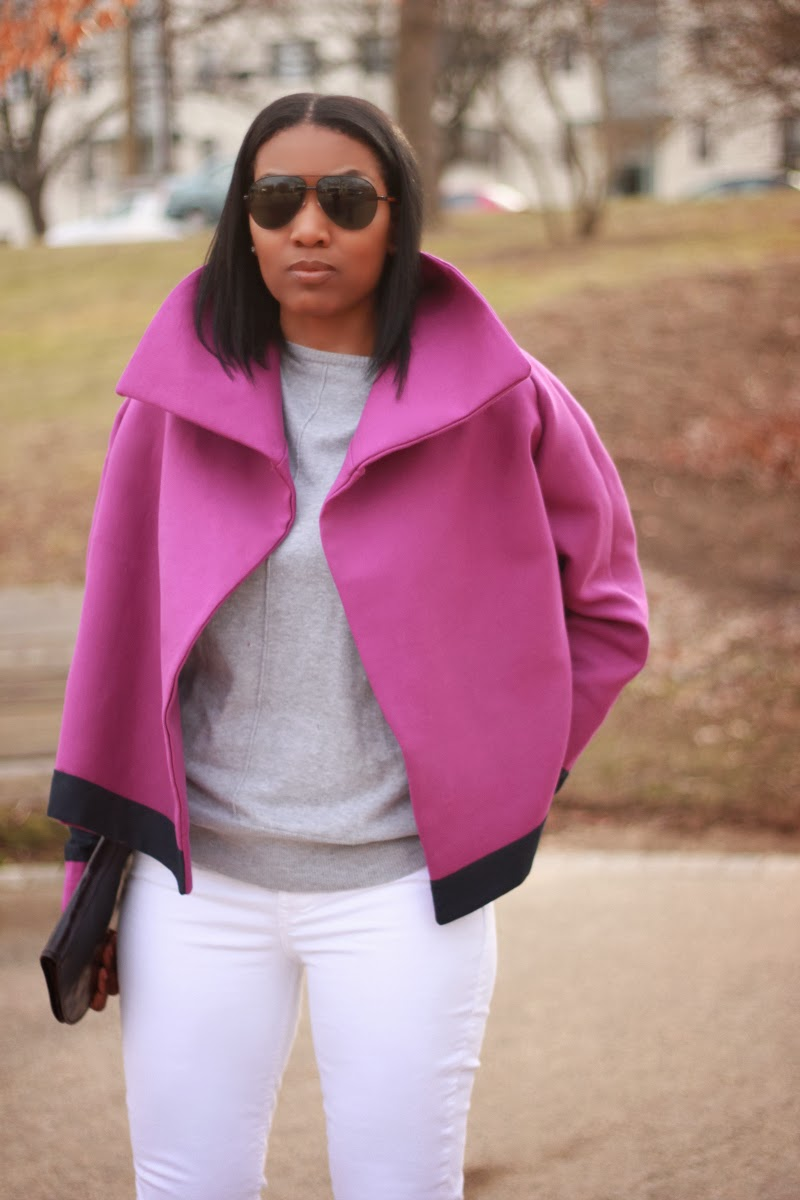Boxy jacket made out of double-cloth cotton twill in Radiant Orchid from Mood Fabrics and Vogue Pattern 8862.
