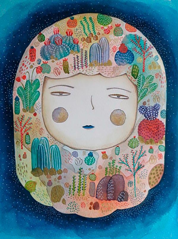 Ilustración, La niña que amaba la naturaleza de Elizabeth Peña