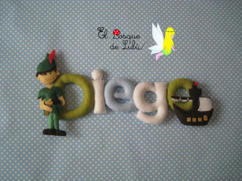 nombre-en-fieltro-decoración-infantil-letrero-Peter-Pan-regalo-nacimiento-cumpleaños-personalizado