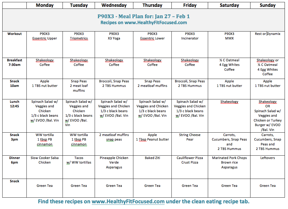 Clean Eating Meal Plan - P90X3, www.HealthyFitFocused.com