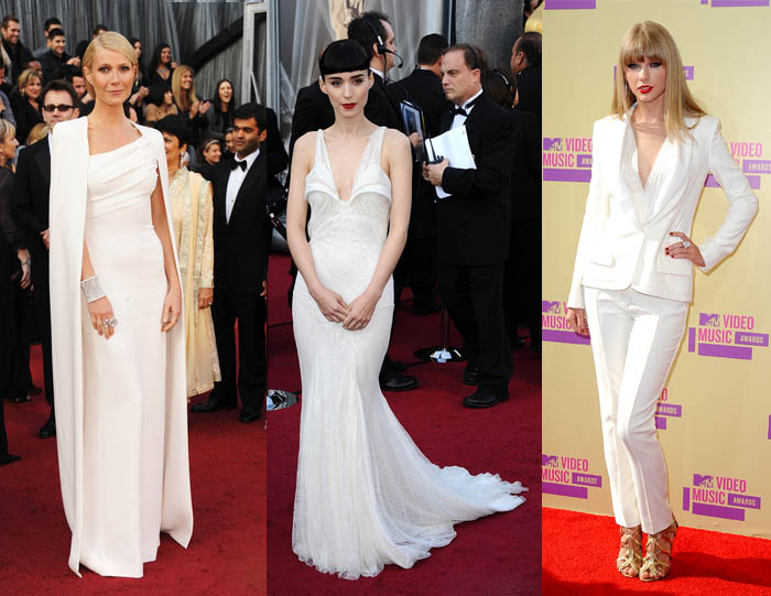TOTAL WHITE_Rooney Mara_Gwyneth Paltrow_Taylor Swift_Branco total_Vestido branco_look branco