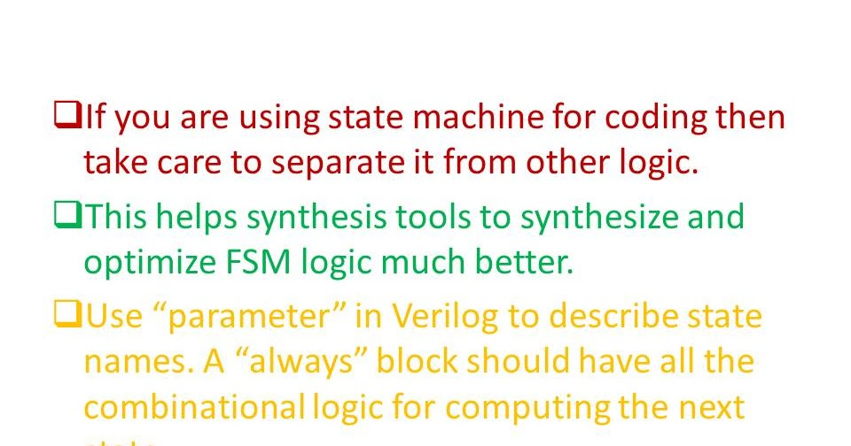 Asic System On Chip Vlsi Design Fsm Synthesis Guidelines