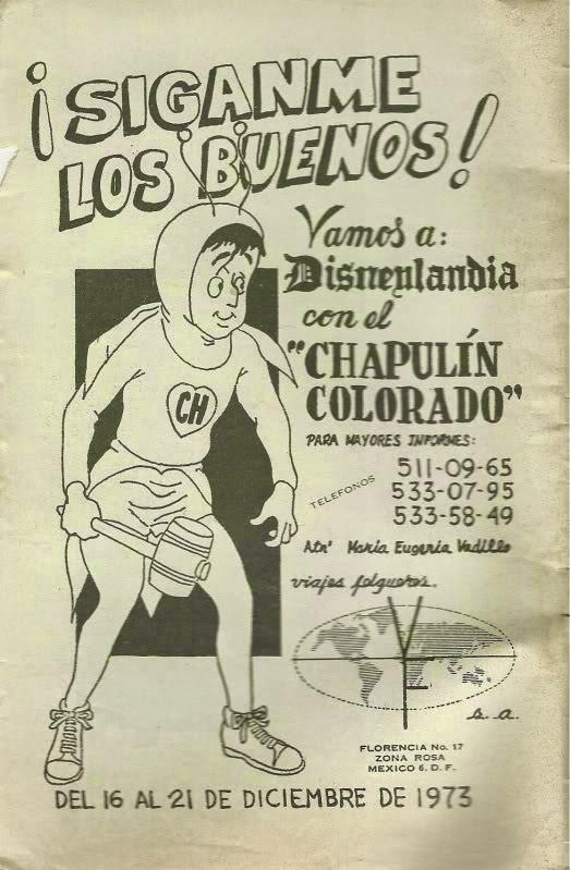 Propaganda de 1973 de uma agência de turismo da Cidade do México para promoção de uma viagem à Disney com Chapolin Colorado.