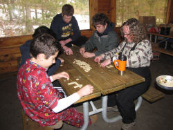 boys playing bananagrams