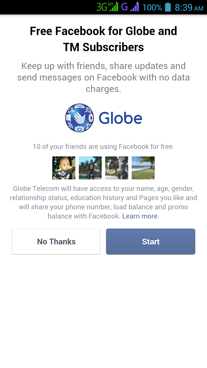 Globe & TM Free data charge on Facebook using FB app and Mobile Browser