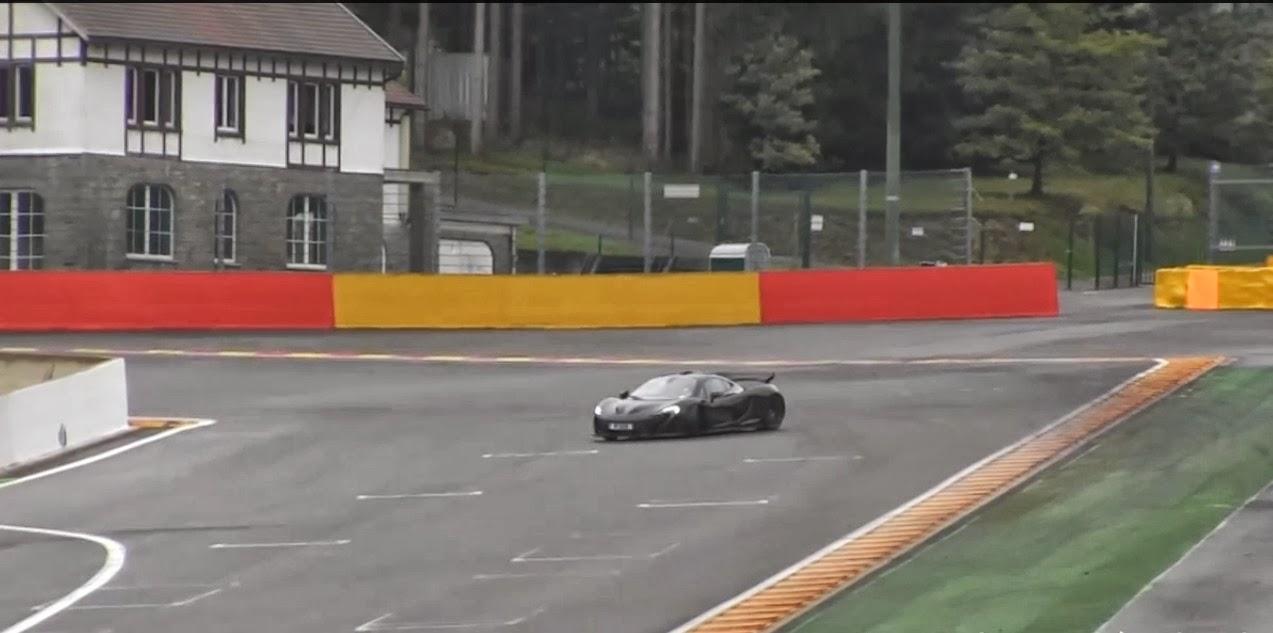 Top Gear-Crew und der McLaren P1 auf der Rennstrecke von Spa-Francorchamps