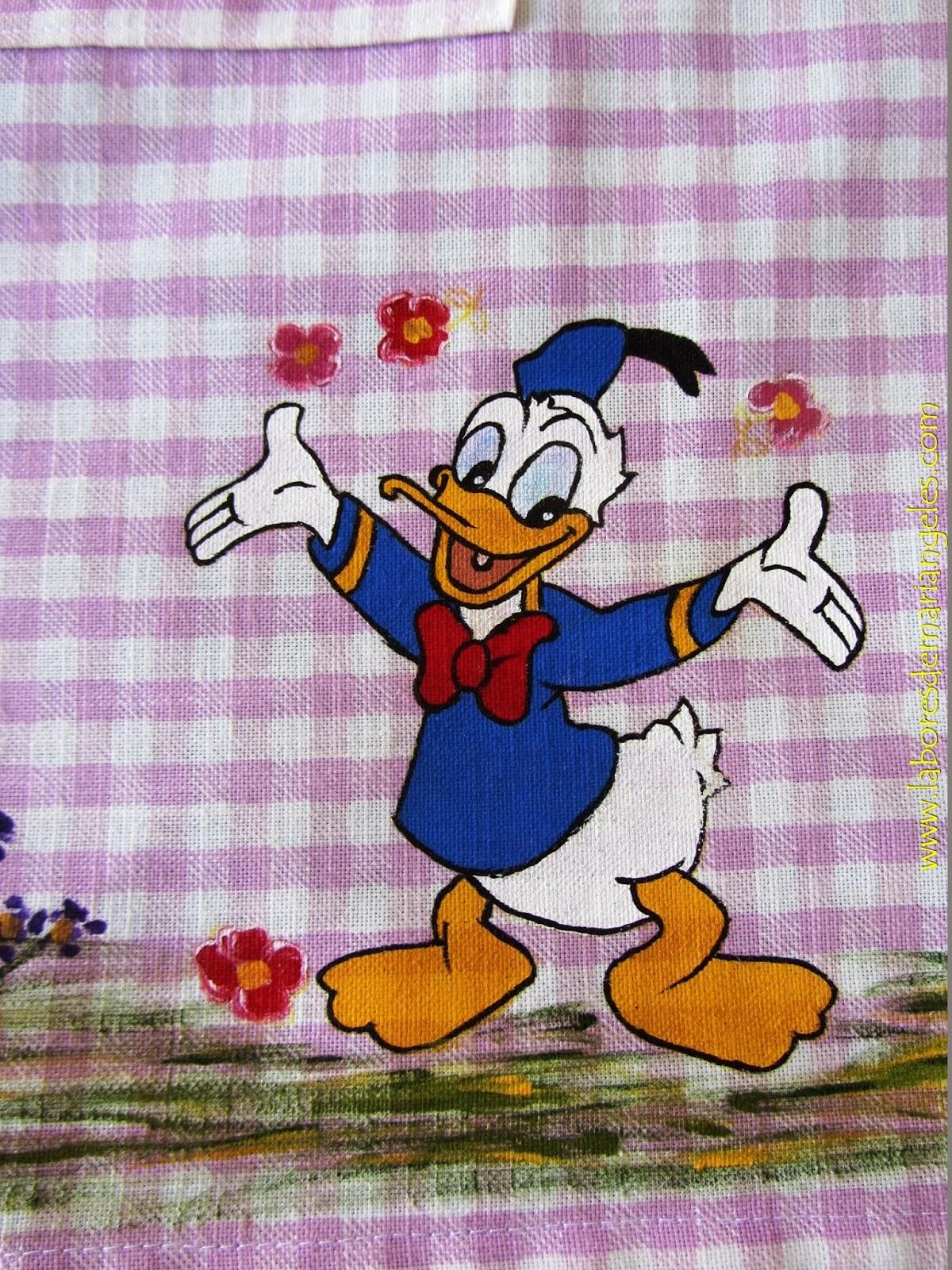 Labores de mari angeles dibujo del pato donald pintado a - Dibujos infantiles para pintar en tela ...