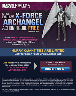 Free X-Force Archangel action figure from Marvel Digital Comics ad