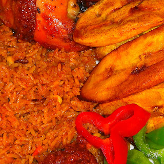 Plantain and Jollof with chicken