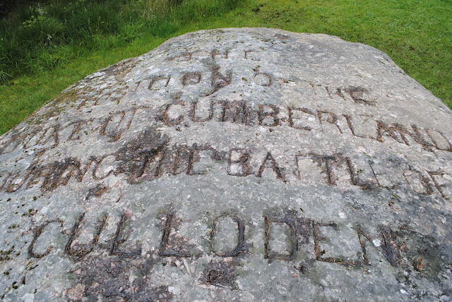 Cumberland Stone at Culloden Battlefiled in Inverness Scotland. Today it is a Bus stop