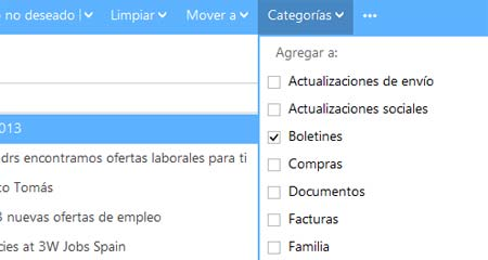 Outlook correo categorias