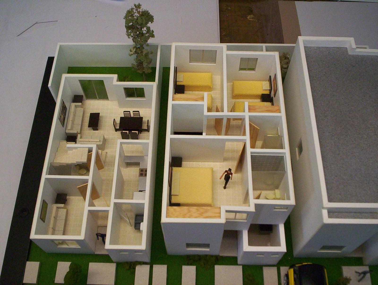 maquetas de detalle de diferentes prototipos de casa habitacion