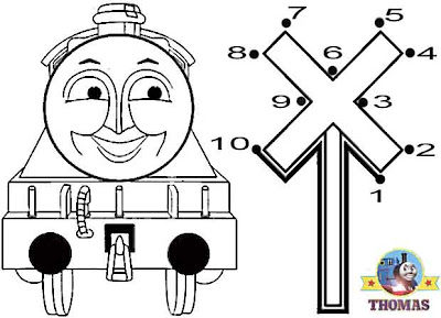 Kids games dot to dot numbers coloring pictures free online Thomas the tank engine Gordon the train