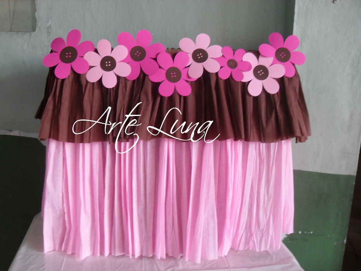 Arte luna decoracion baby shower en rosa y cafe for Ideas faciles decoracion