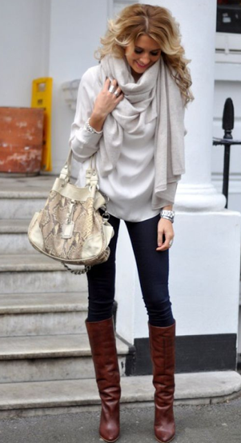 Adorable White Blouse and Scarf, Dark Blue Jeans with Brown Boots and Suitable Handbag