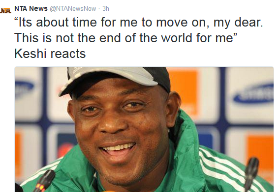 Steven Keshi's Reaction to his Sack by NFF