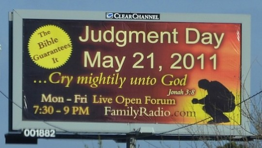 judgment day may 21 billboard. may 21 judgement day