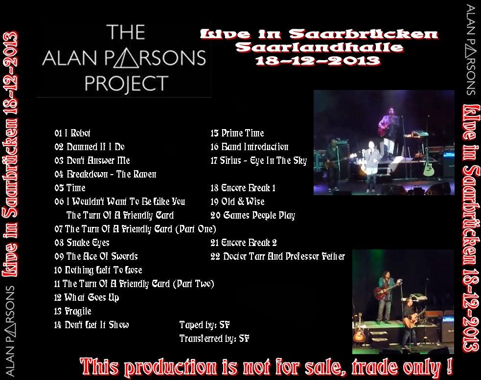 alan parsons live project The alan parsons project var en brittisk musikgrupp inom den progressiva rocken, bildad 1975 i london av producenten alan parsons och låtskrivaren/sångaren eric woolfsongruppen var aktiv fram till 1990.