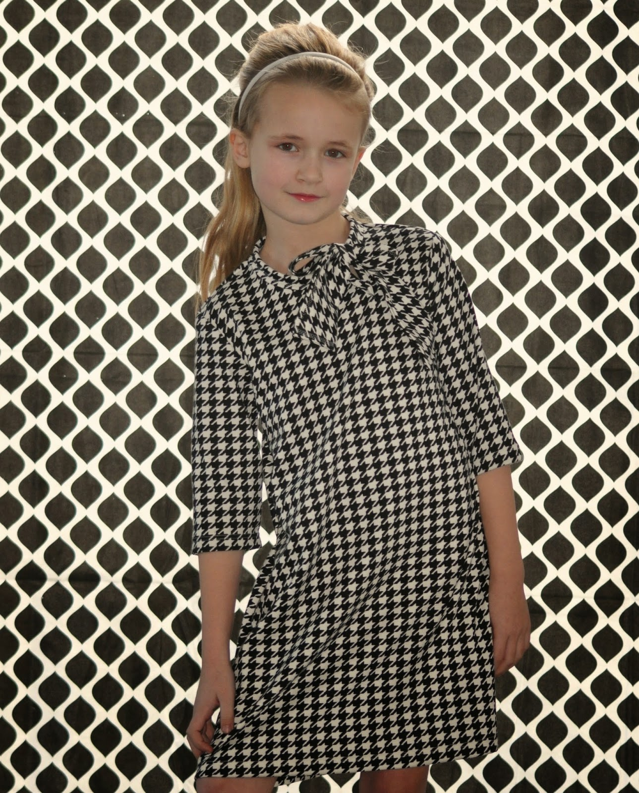 houndstooth DIY kinderjurk workshop naaien sewing fabric pied de poule