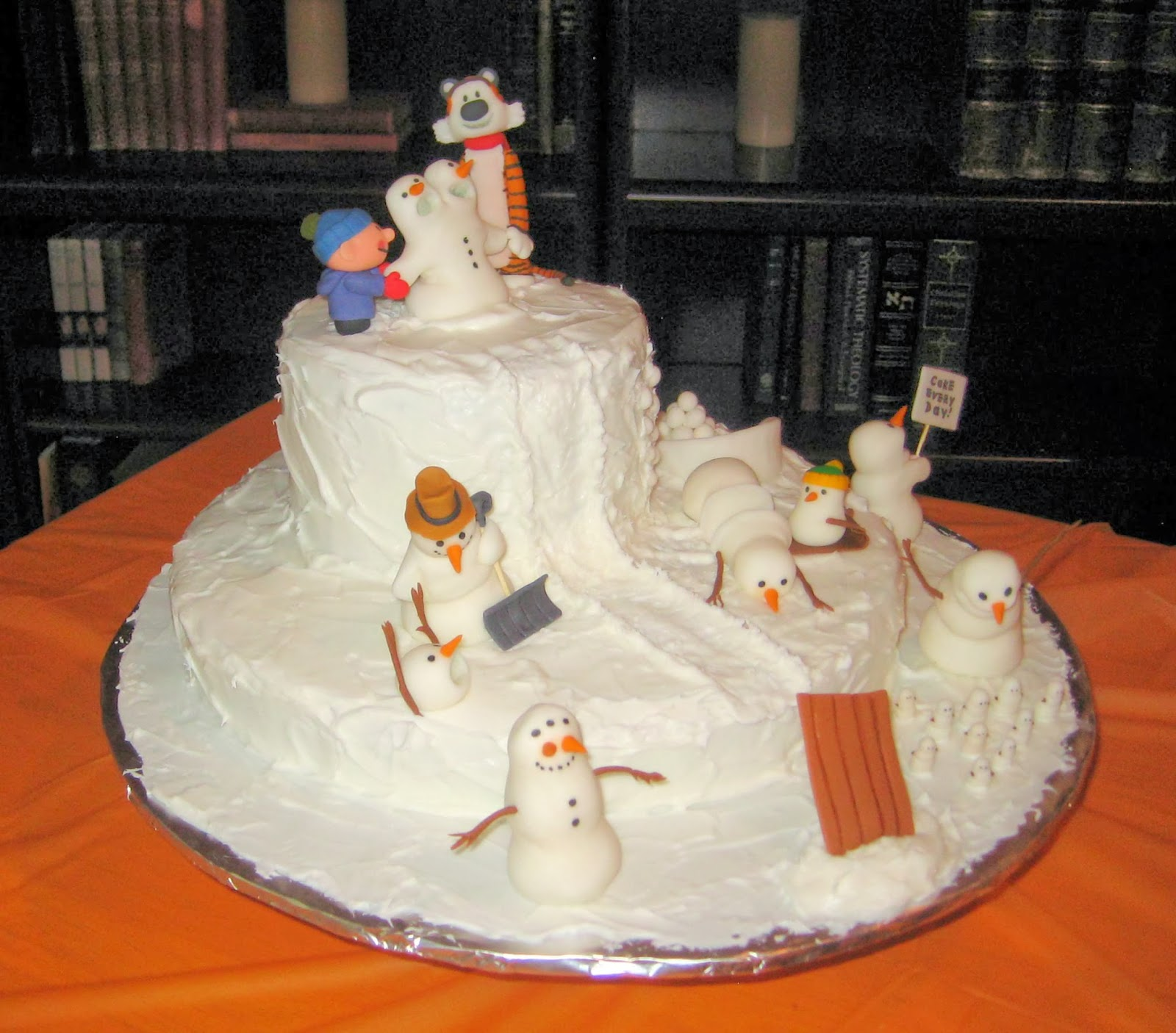 Calvin and Hobbes Snowmen Cake - Angled View