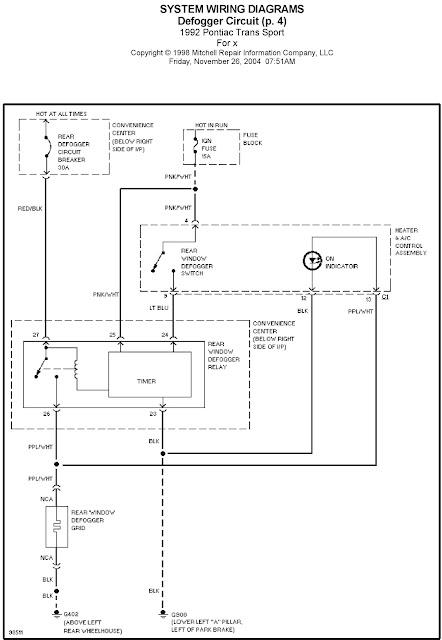 1992 Pontiac Trans Sport Defogger Circuit System Wiring Diagrams