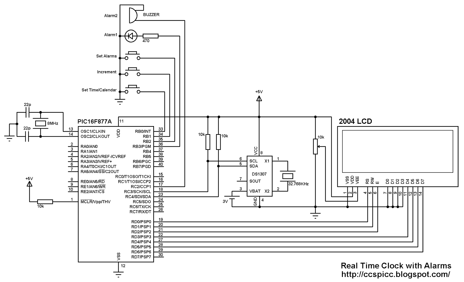 real time clock with alarm using pic16f877a and ds1307 rtc