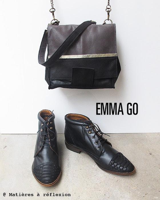 Sac néon gris et noir avec low boots norma emma go
