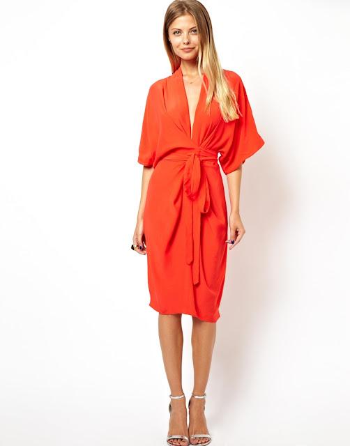 orange dress with belt