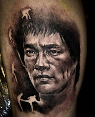 Bruce Lee Face Tattoo