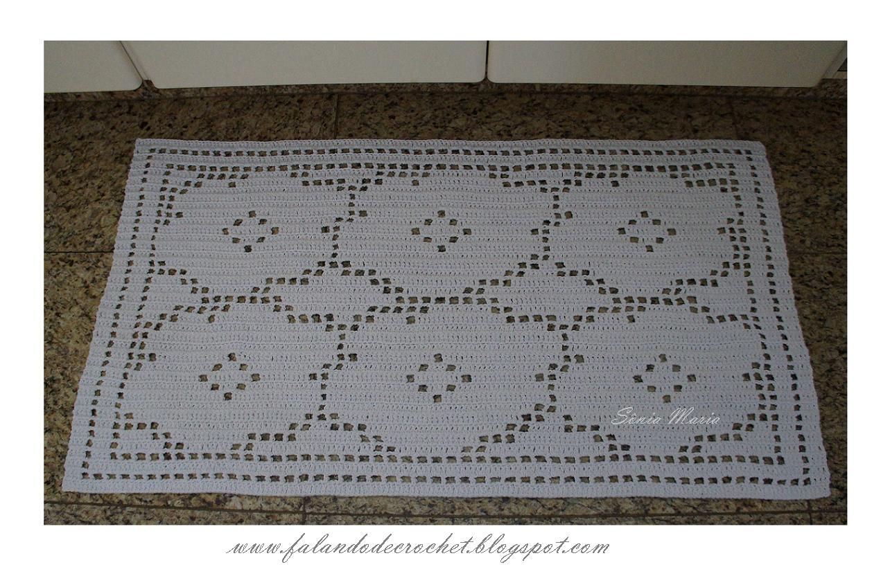 mostrar esse tapete de barbante em croche filé que acabei de tecer ...