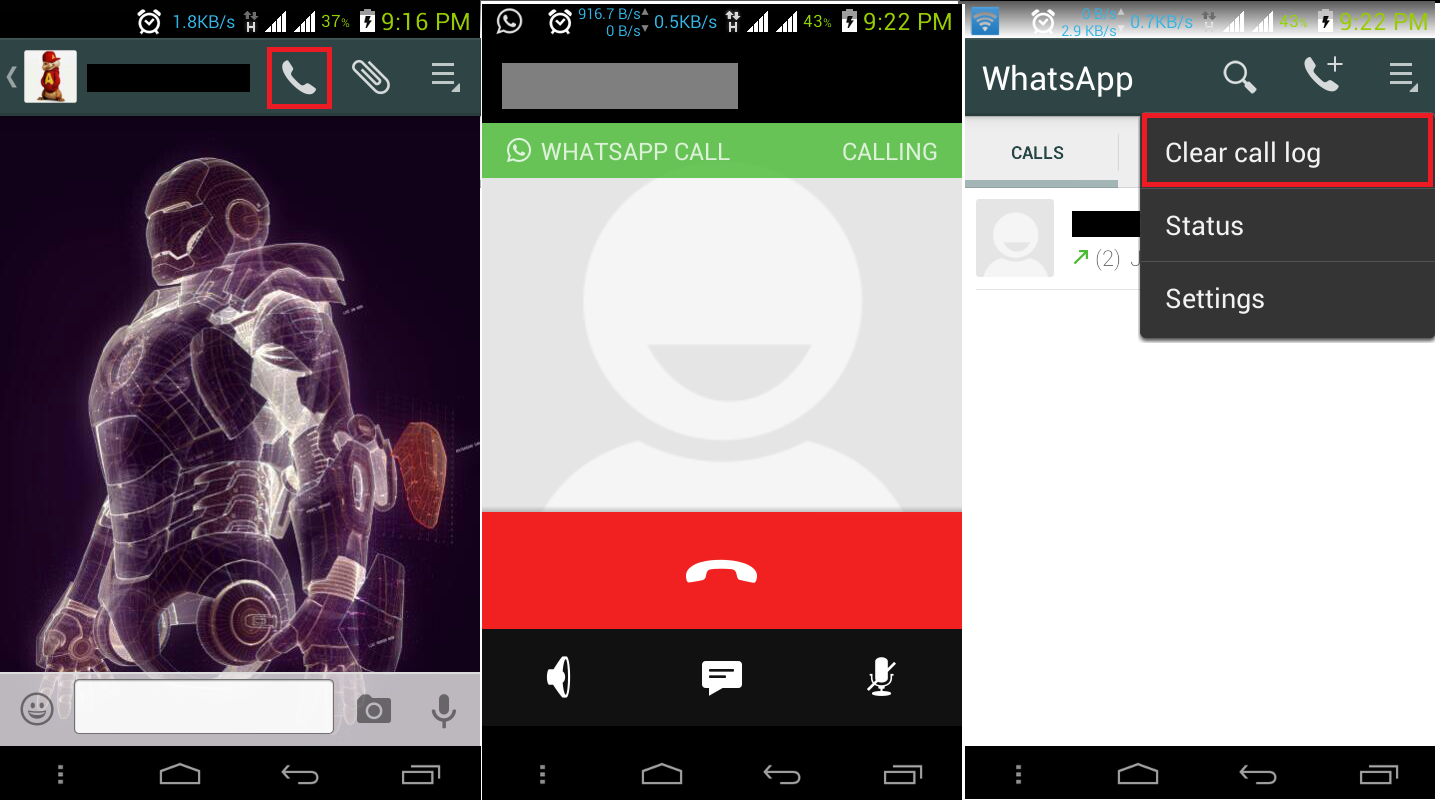 Whatsapp call Clear Logs