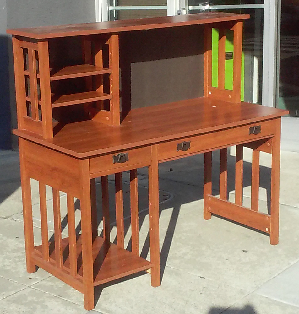 Uhuru furniture collectibles sold mission style desk with hutch 55 - Mission style computer desk with hutch ...