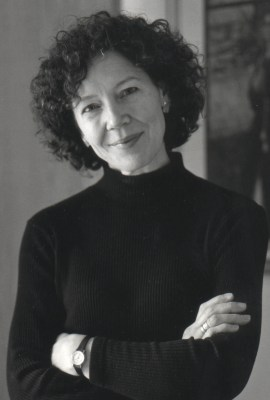 a black and white photo of a woman, poet Joyce Sutphen