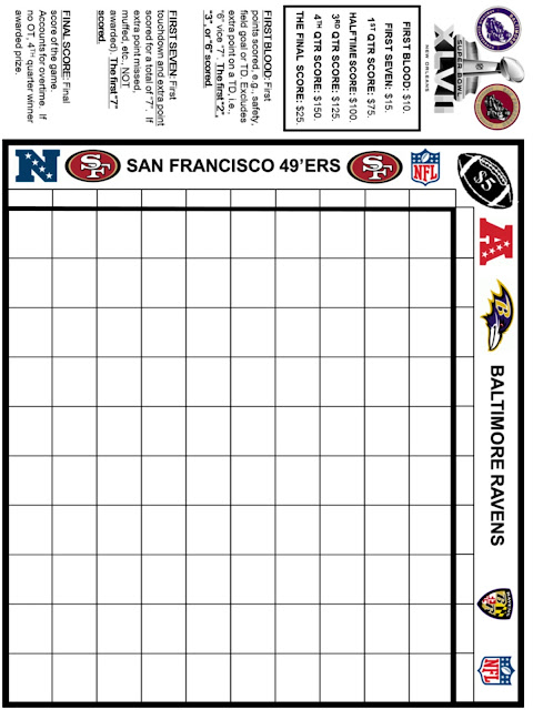 Spouting Off About Sports and Stuff: PRINTABLE SUPER BOWL XLVII GRID