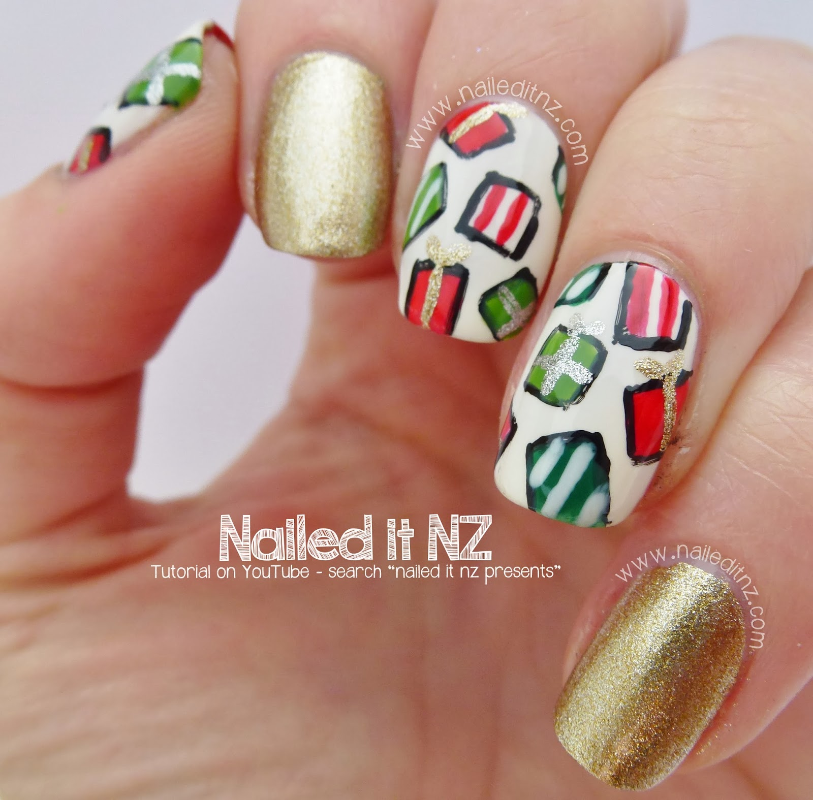 Christmas Present Nail Art Tutorial | 12 Days Of Christmas Nail Art ...