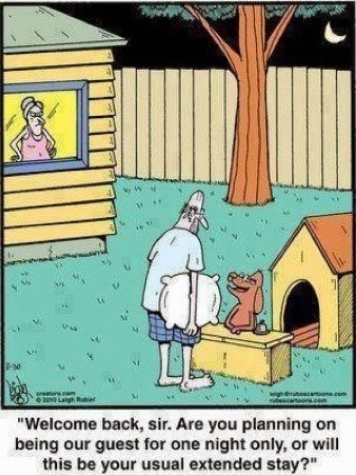 Husband becomes a guest when thrown out Very Funny Humor Cartoon Jokes