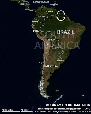 Ubicación de SURINAM en Sudamérica (VA bing)