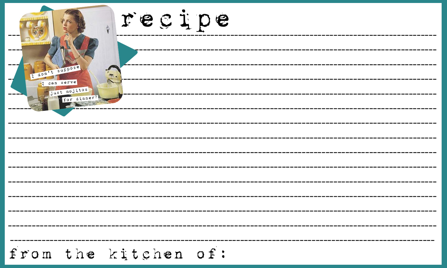 Anne Taintor Inspired Menu Planner & Recipe Cards {printable ...