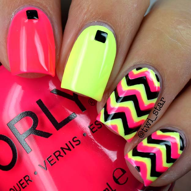 Neon Chevron Nails Featuring Orly Pion Fruit And Key Lime Twist