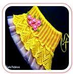 Falda Amarilla Crochet con motivo de piñas