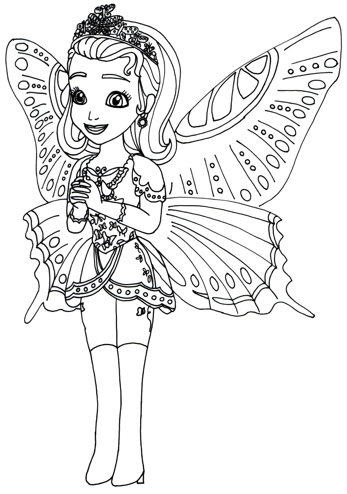 Princess coloring pages blogspot - Princess Butterfly Sofia The First Coloring Page