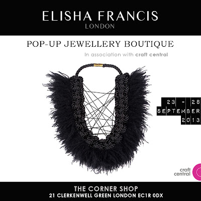 The Corner Shop, Craft Central, Elisha Francis, Elisha Francis London, Designer Jewellery, Pop-up shop, September Events